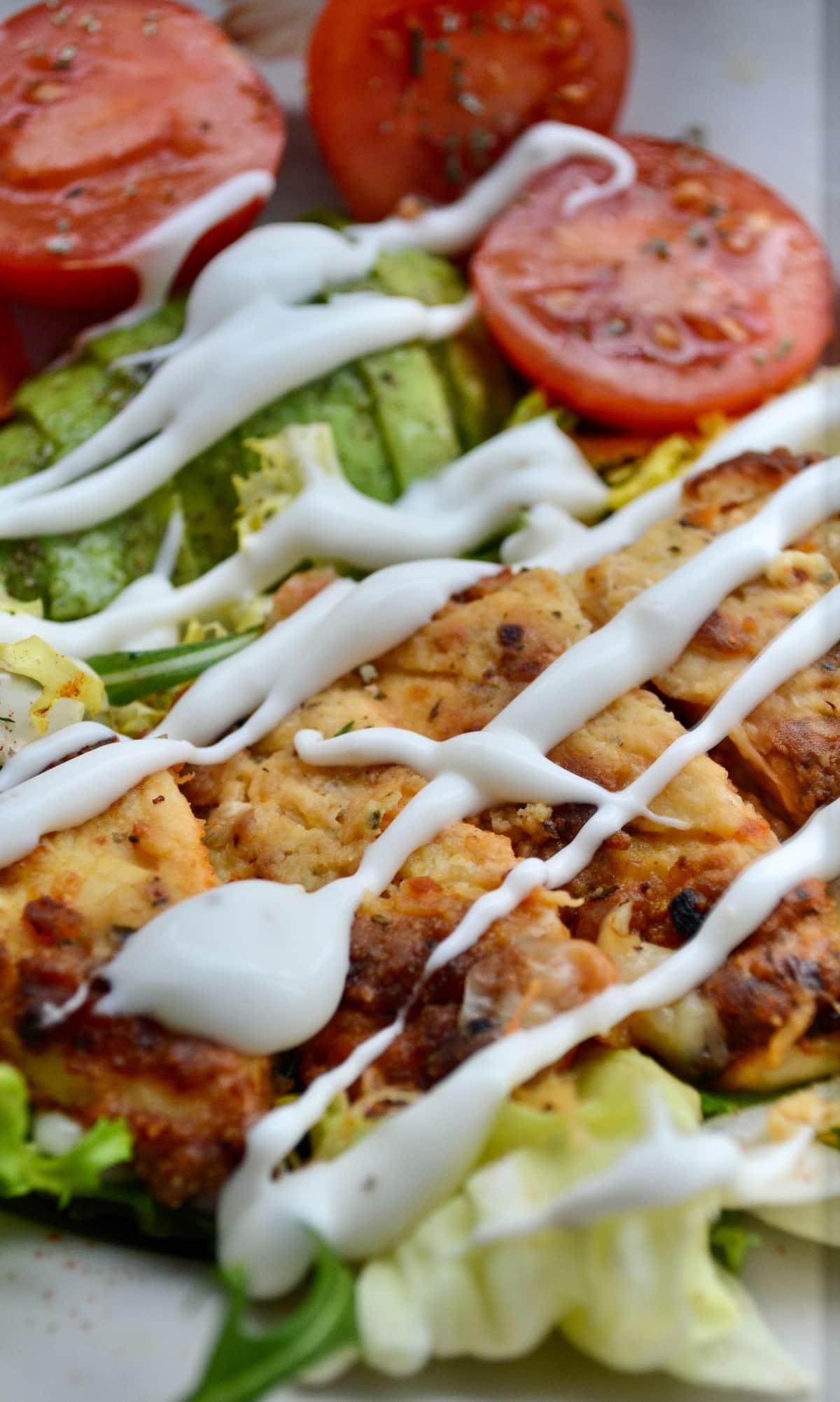 Keto parmesan crusted chicken salad