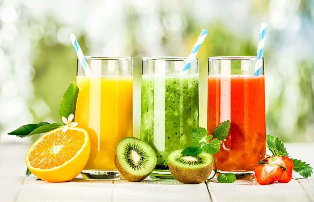 Fresh squeezed orange, kiwi and strawberry juice