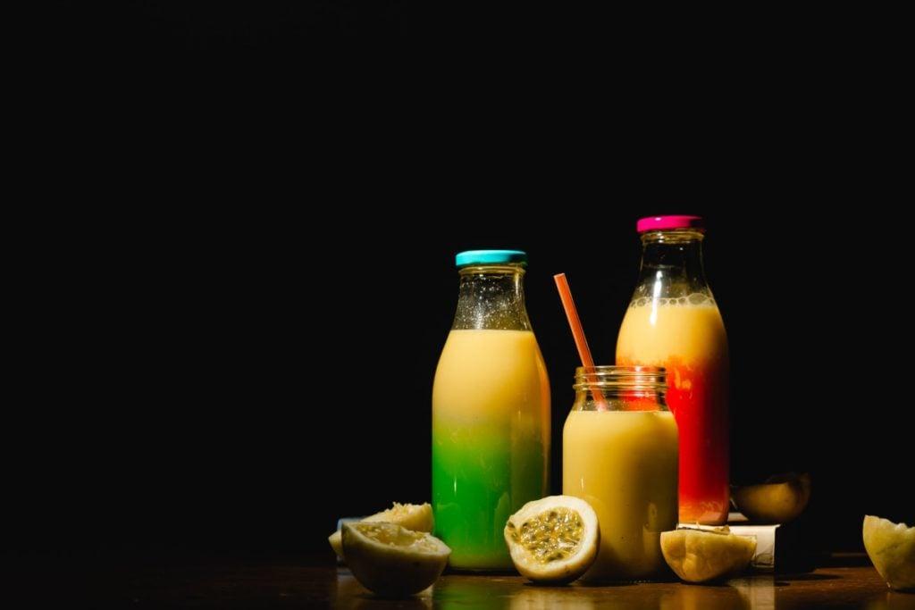 Three bottles  juice