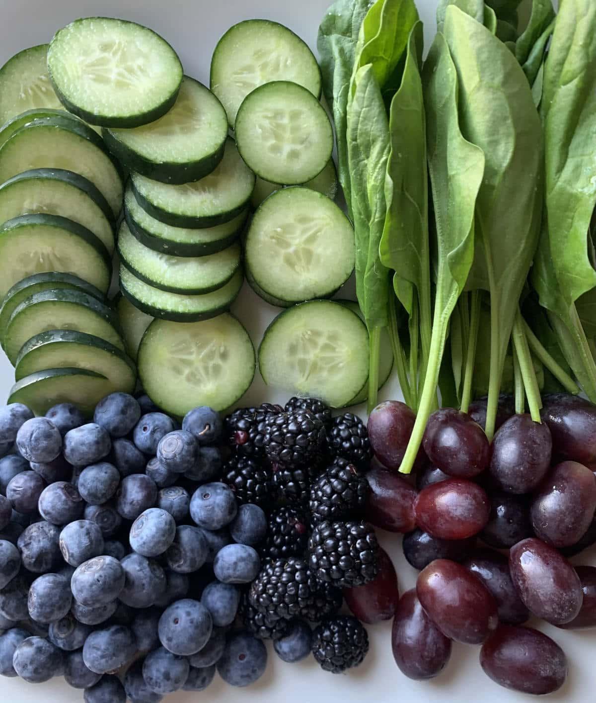 cucumbers, blueberries, blackberries, grapes, kale