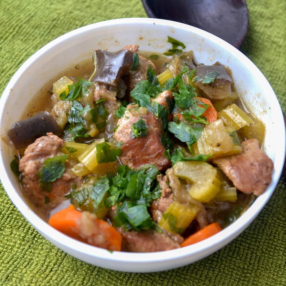 Instant pot keto beef stew serving