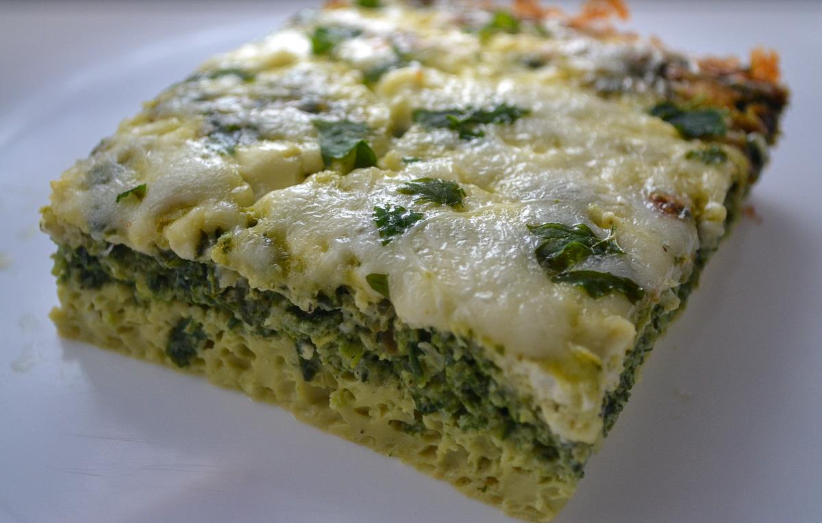 Keto vegetarian breakfast casserole slice