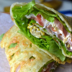 Keto breakfast cheese wrap ready for eating