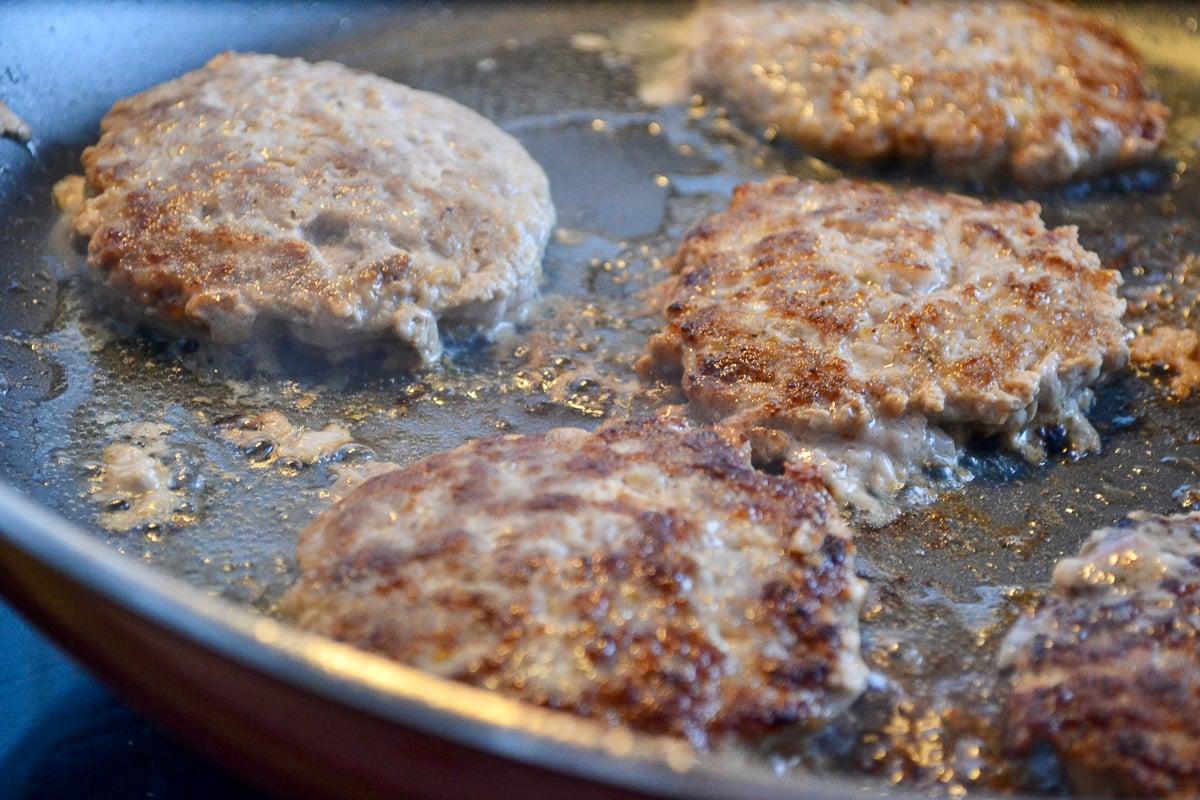 Keto breakfast sausage patties on skillet
