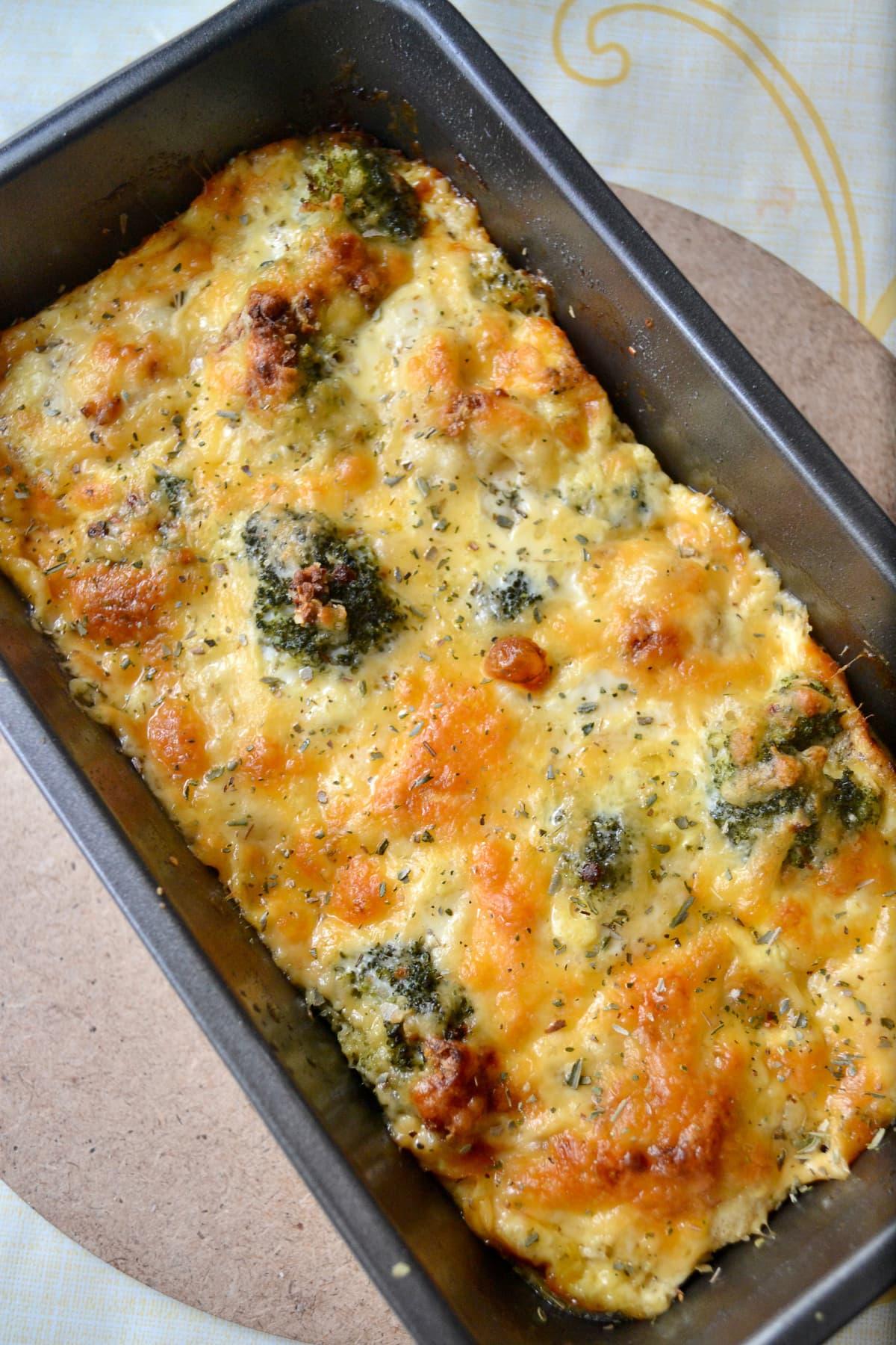 Freshly baked cheesy broccoli cauliflower bake