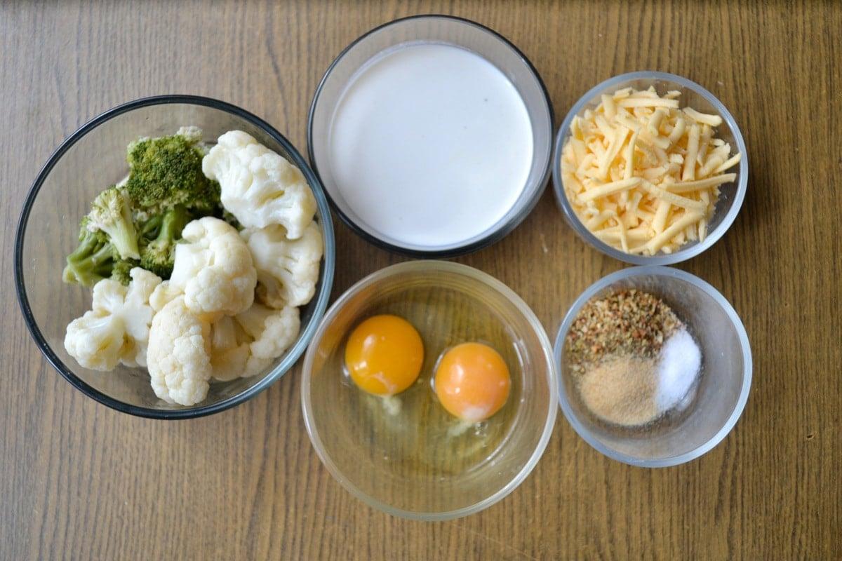 Keto Cheesy Broccoli Cauliflower Bake ingredients