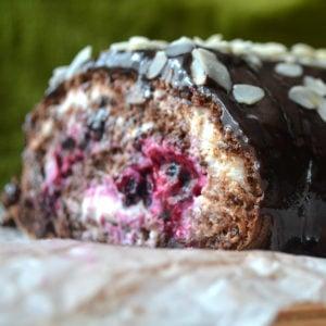 Freshly baked chocolate keto roll cake
