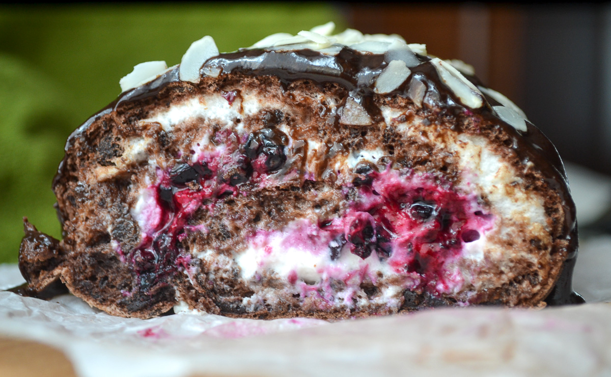 Keto chocolate roll cake slice