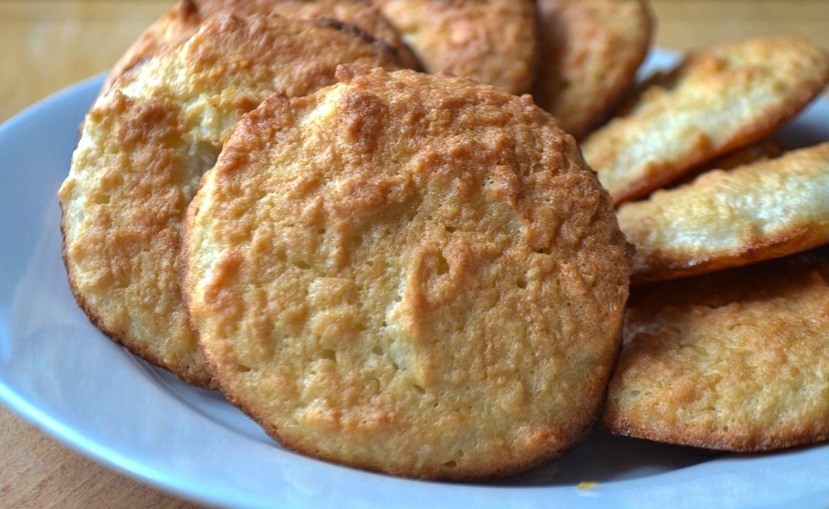Keto coconut cookies on plate