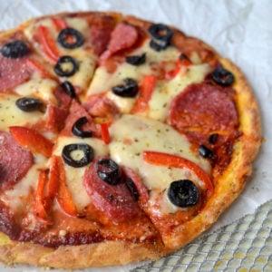 Keto flourless pizza freshly baked