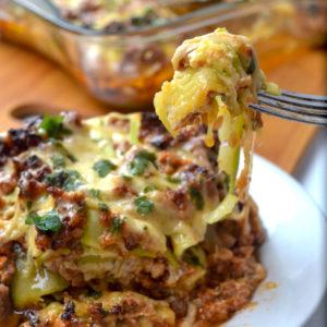 A bite of keto zucchini lasagna