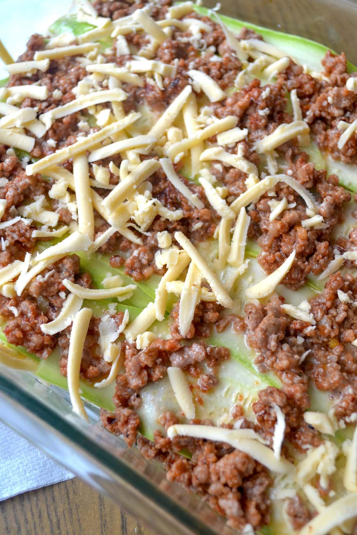 Keto zucchini lasagna preparation