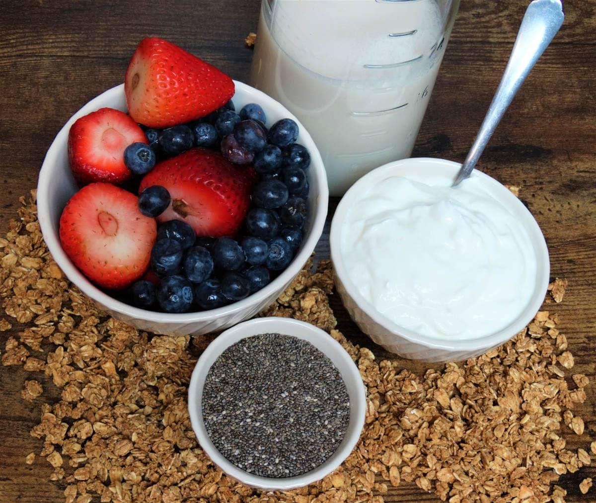 Ingredients - Strawberries, blueberries, chia seeds