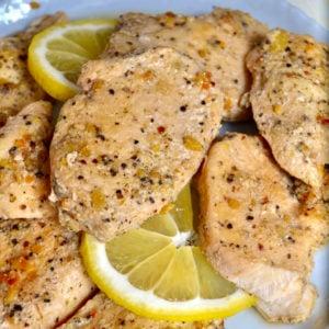 Keto lemon chicken cooked using instant pot
