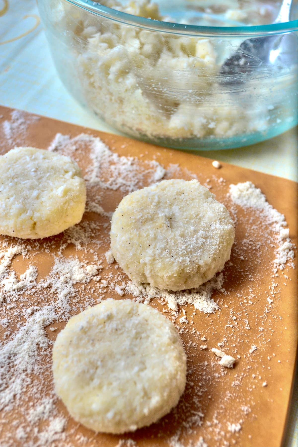Keto no-bake coconut cookies prep