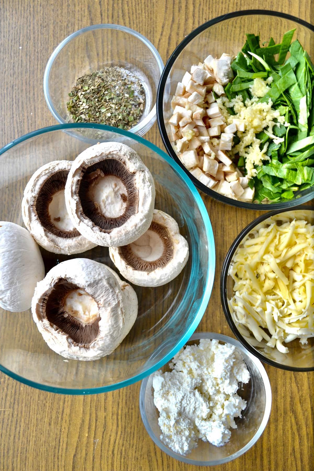 Keto Air Fryer Stuffed Mushrooms ingredients
