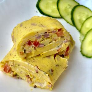 Keto baked omelet roll served