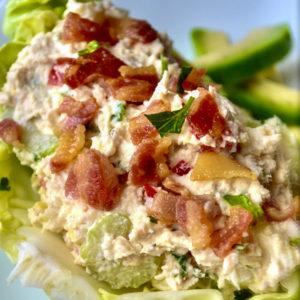 Easy Keto Chicken Salad on lettuce
