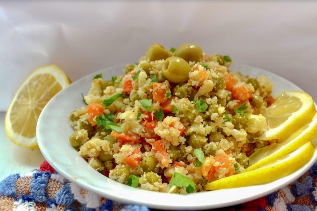 fried cauliflower rice served