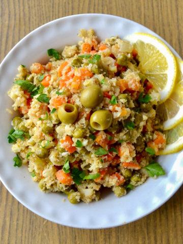 fried cauliflower rice finished