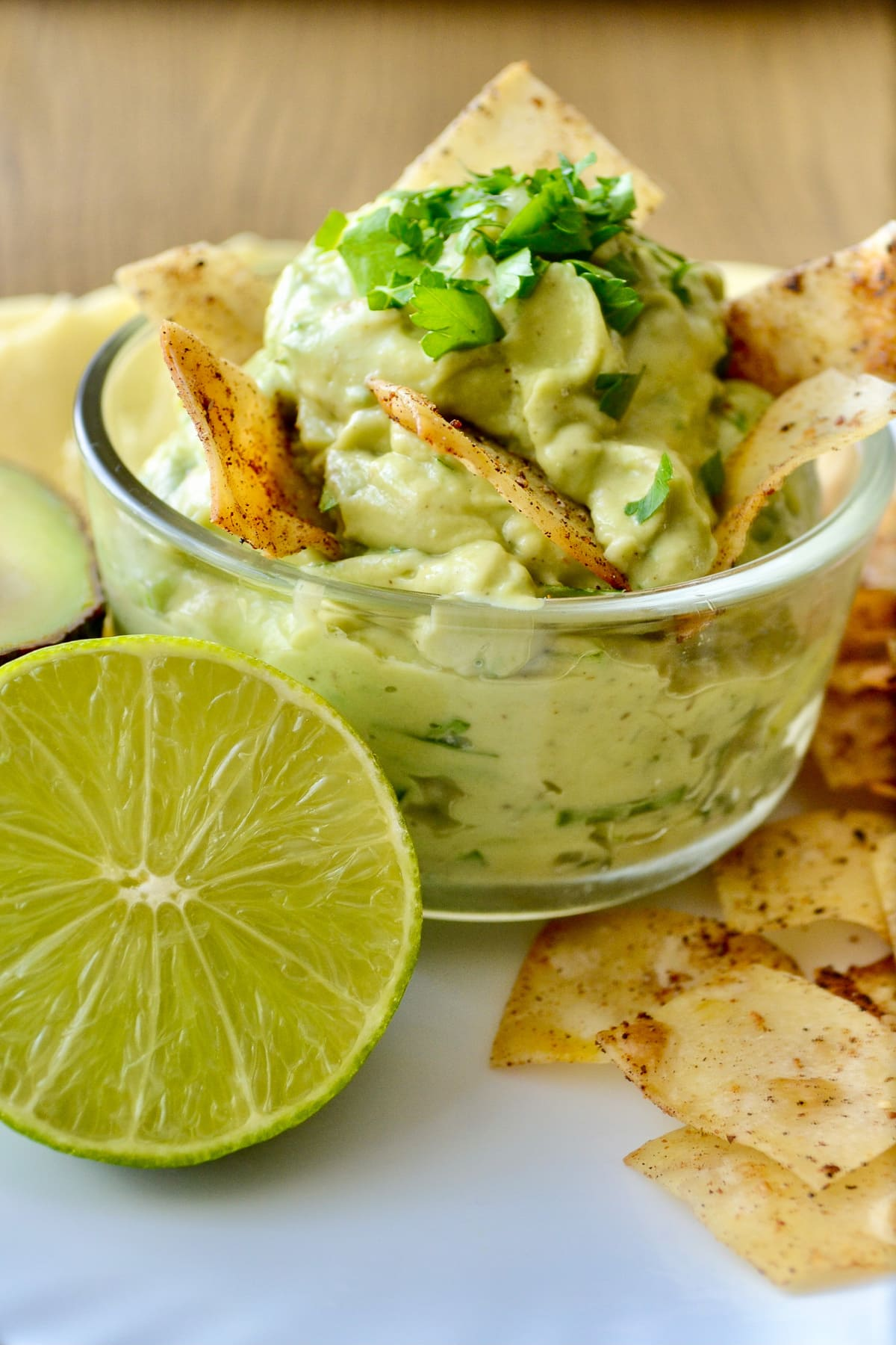 Keto Homemade Guacamole Dip served with chips