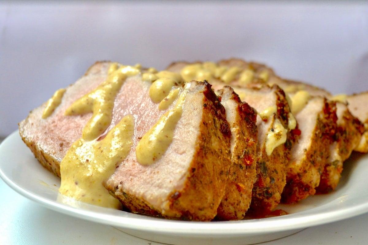 Keto Pork Tenderloin served With Dijon Mustard Sauce