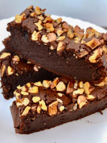 Keto Sugar-Free Brownies served