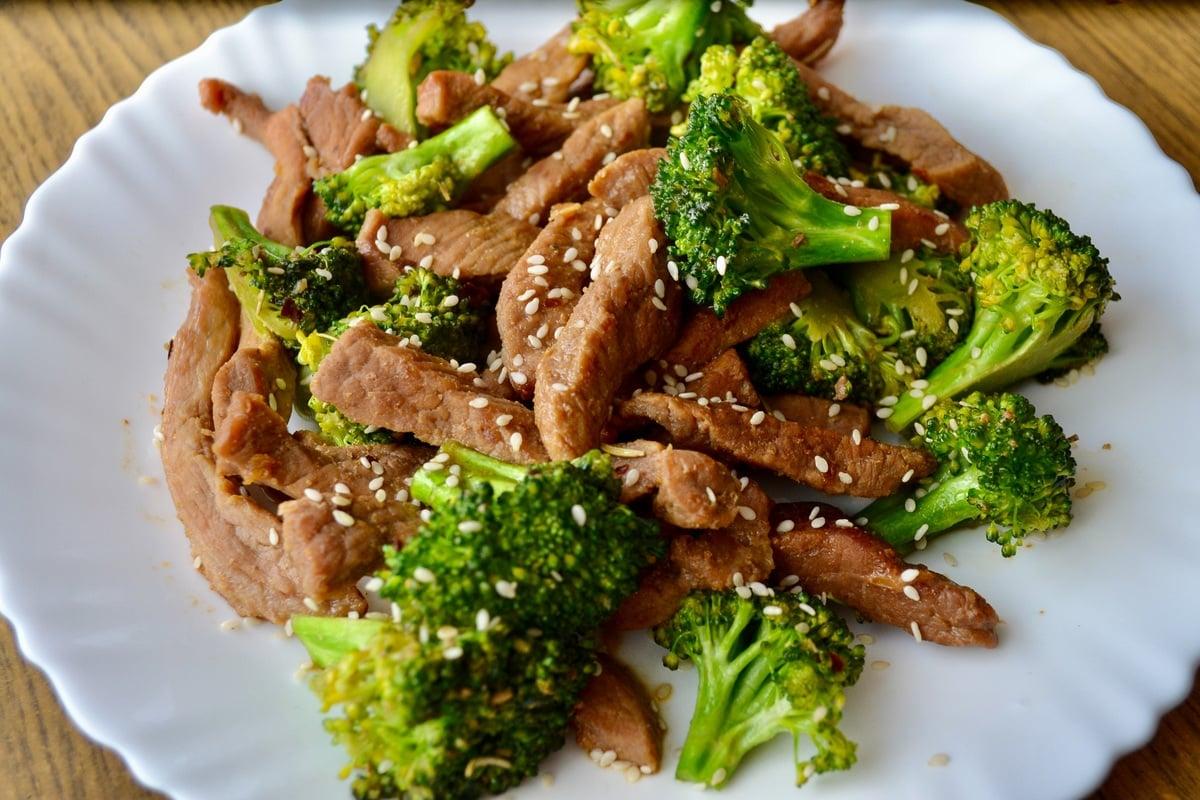 Keto Beef and Broccoli Stir Fry served