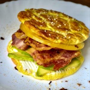 Keto Breakfast Cloud Bread served