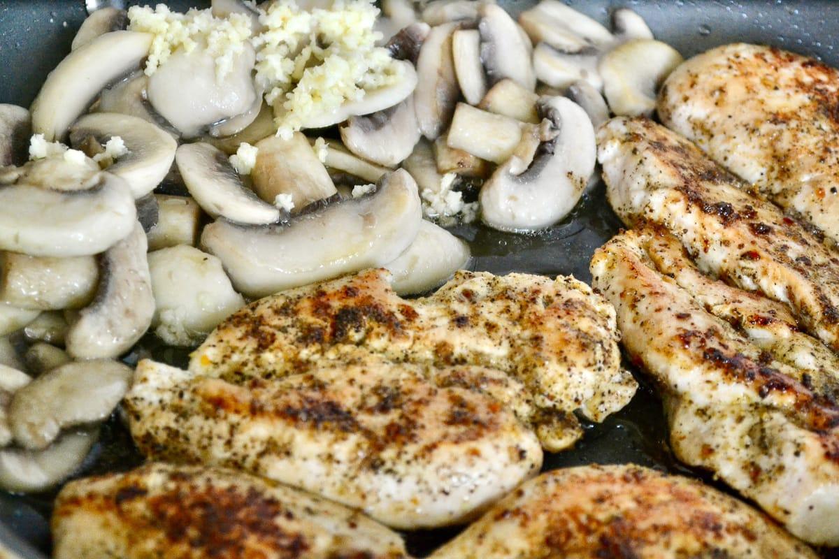 Keto Creamy Mushroom Chicken cooking