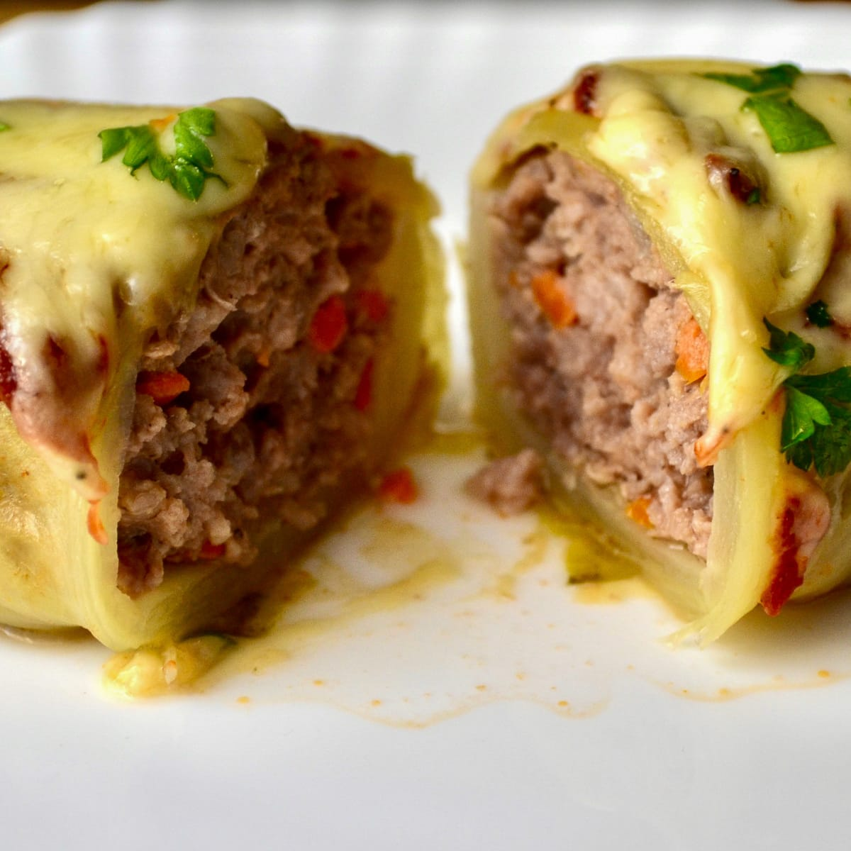 Keto Stuffed Cabbage Rolls sliced