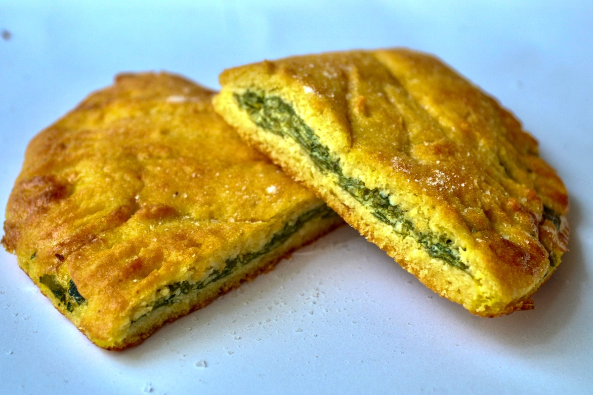 Keto Spinach and Cream Cheese Calzone sliced