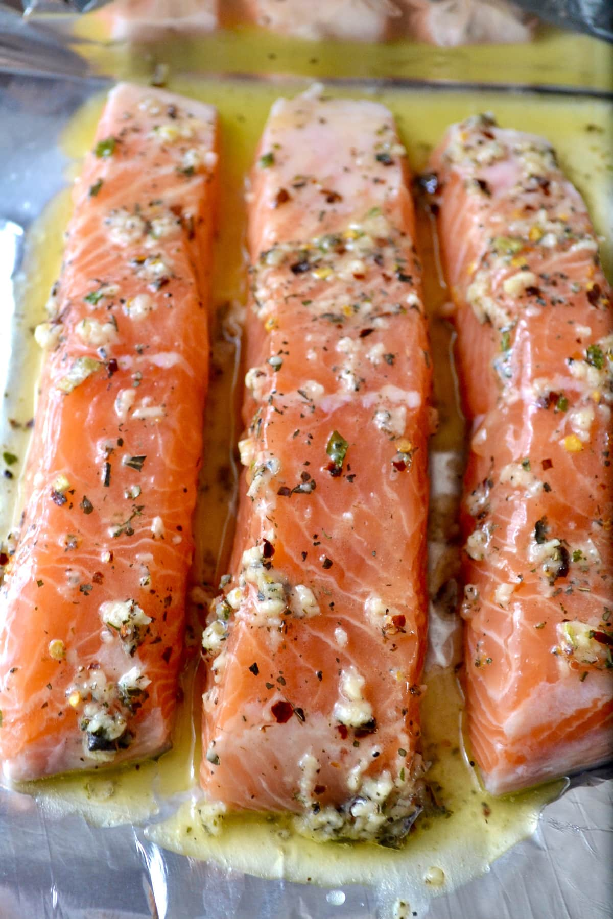 Keto Air Fryer Garlic Butter Salmon prep