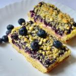 Keto Blueberry Lemon Cheesecake Bars served