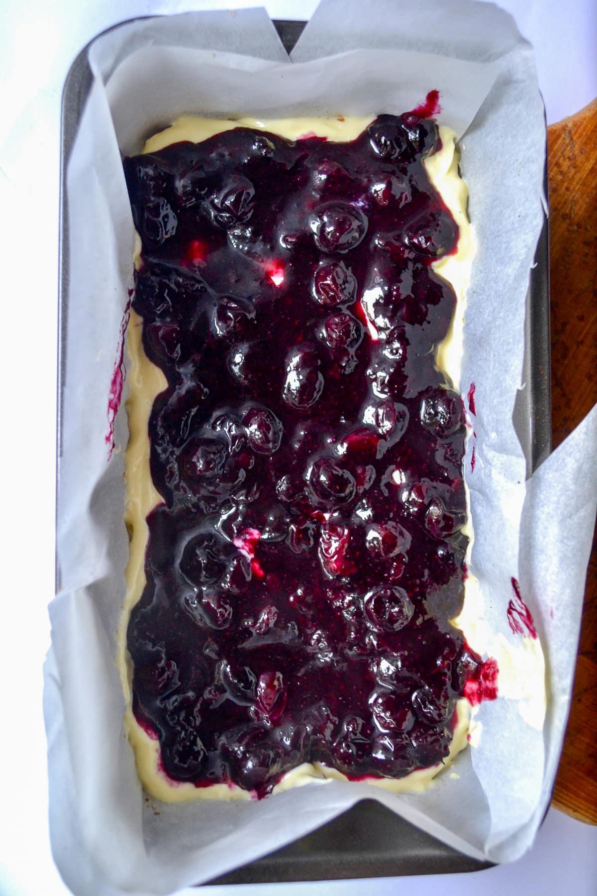 Keto Blueberry Lemon Cheesecake Bars prep