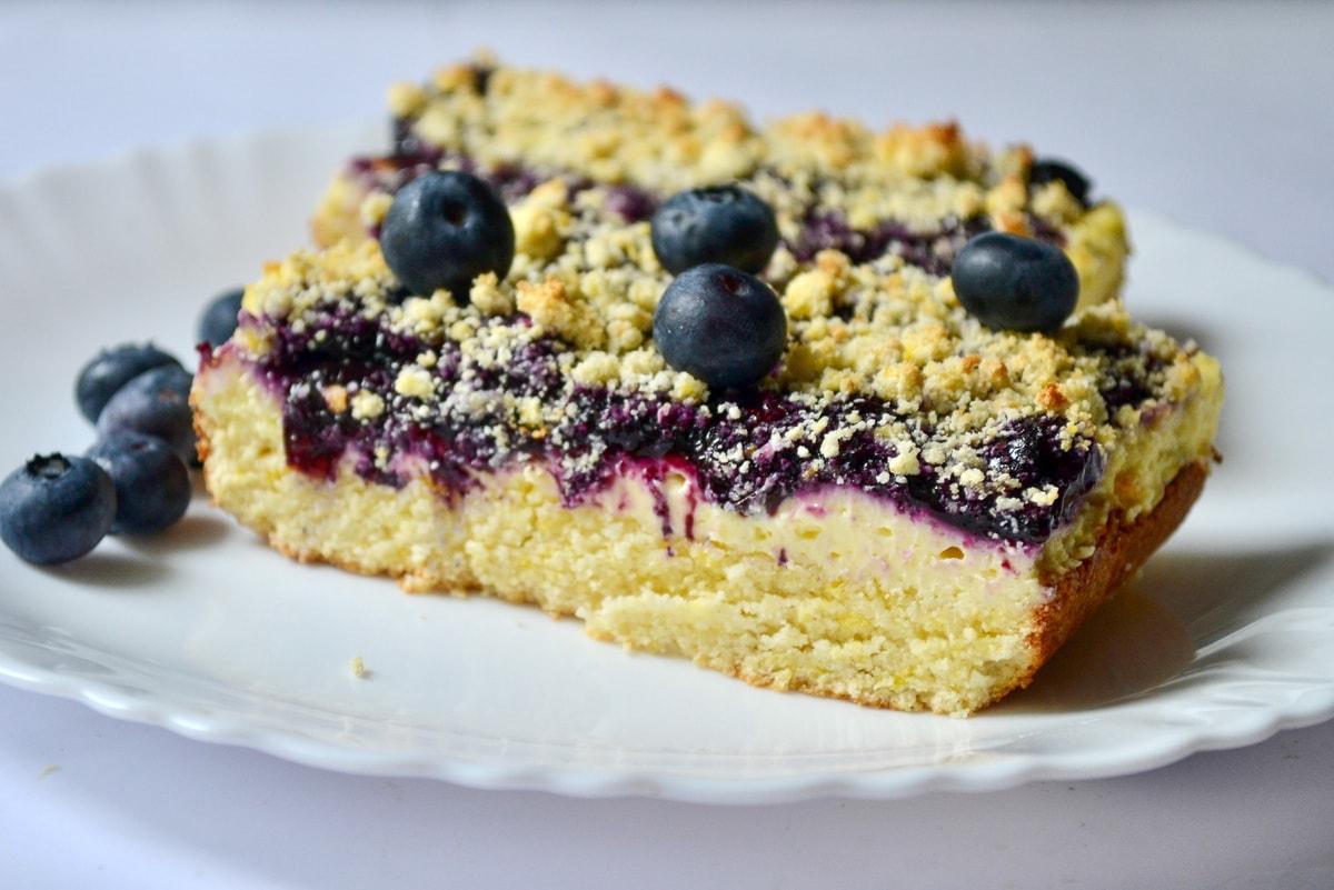 Keto Blueberry Lemon Cheesecake Bars finished