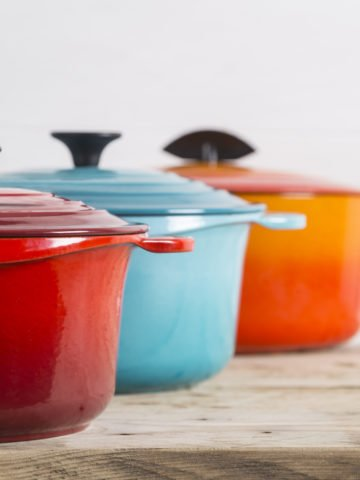 Cast iron saucepans and pot
