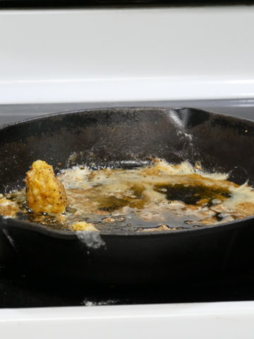 Greasy and messy cast iron skillet