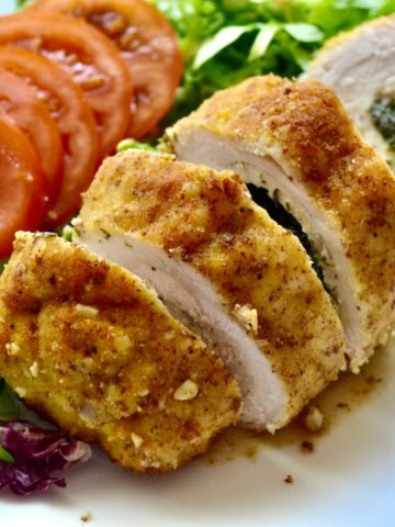 Keto Baked Chicken Kiev served