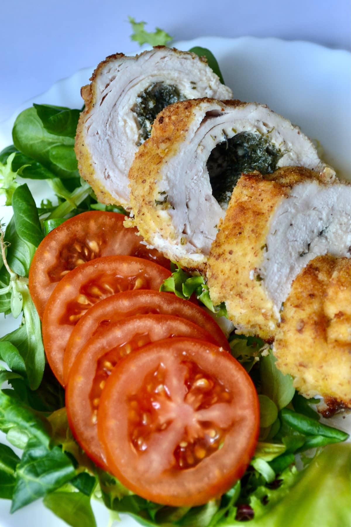 Keto Baked Chicken Kiev sliced