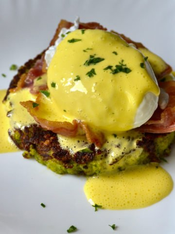 Keto Eggs Benedict With Broccoli Toasts served