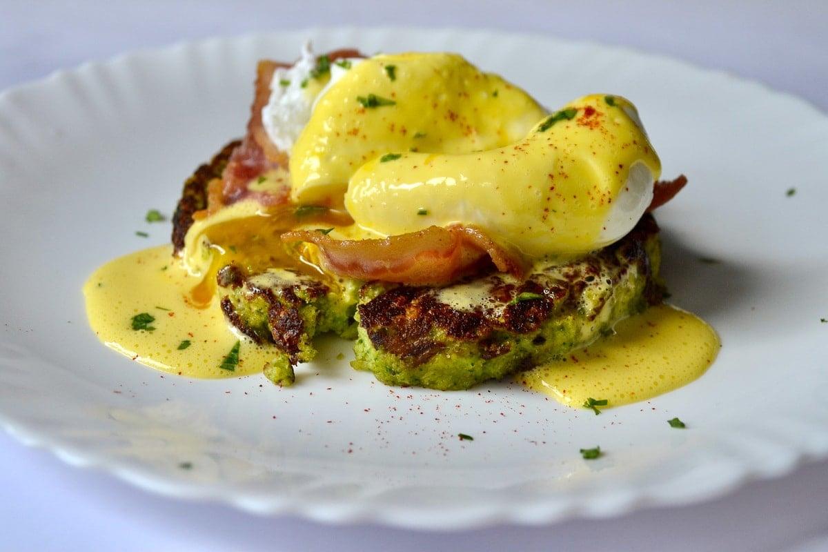Keto Eggs Benedict With Broccoli Toasts sliced