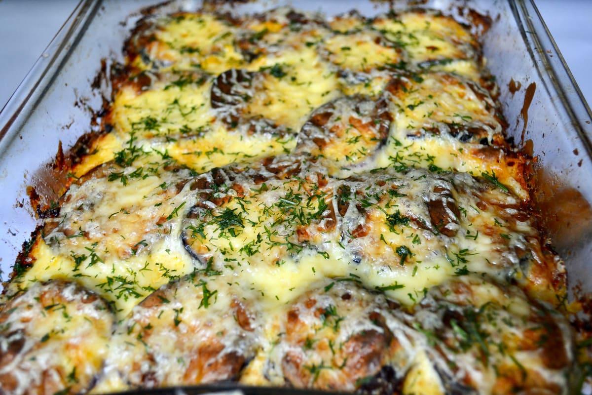 Keto Moussaka With Eggplant cooked