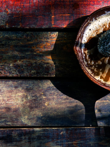 Rusty old cast iron skillet