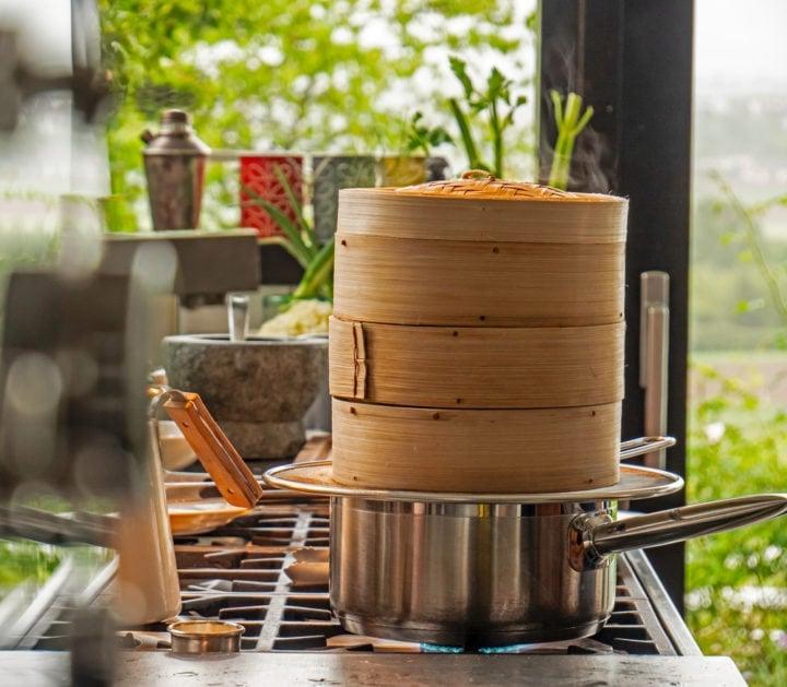 a four tier bamboo steamer